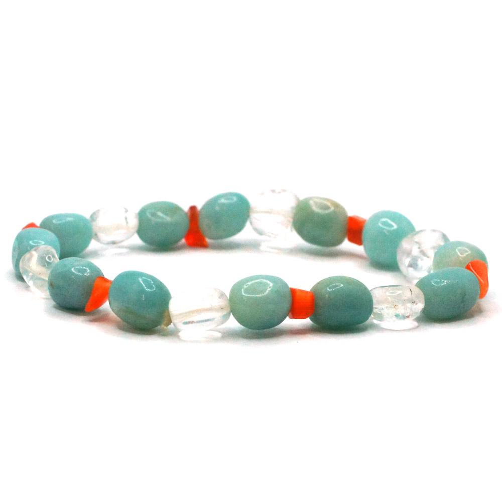 Bracelet-pierre-roulée-Amazonite-cristal-de-roche-et-cornaline