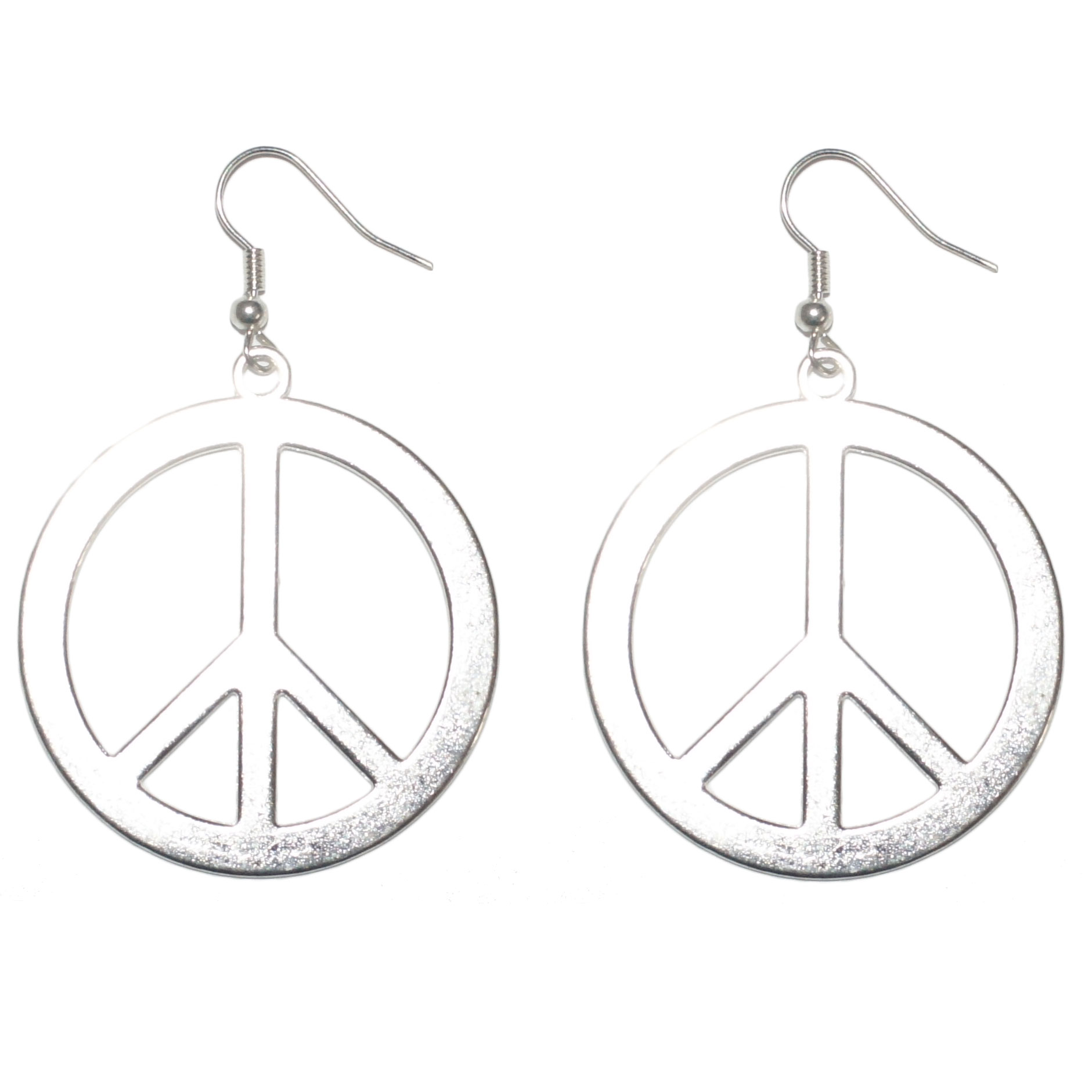 Boucles d 39 oreilles peace and love en m tal 40mm bijoux - Boucle d oreille peace and love ...