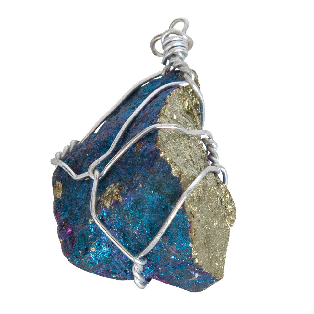 Pendentif-Chalcopyrite-brute-monté-sur-fil-d'argent