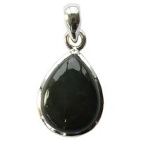 Pendentif argent en forme de goutte en Obsidienne noire - petit modèle