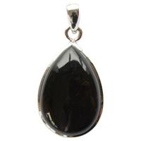 Pendentif argent en forme de goutte en Obsidienne noire - grand modèle