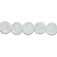 Perle en Cristal de roche Craquelé boule 8 mm - Lot de 10 pièces