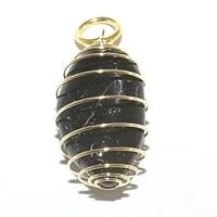 Pendentif Tourmaline noire 15 mm en Spirale