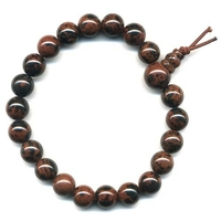 Mala tibétain 21 graines Power Bracelet Obsidienne acajou boules 8 mm