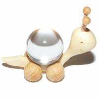 Boule de massage 2 cm en Cristal de roche support escargot