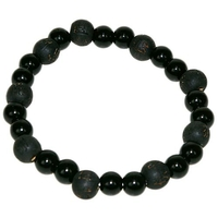 Bracelet perles de karma en Onyx / Bois Noir