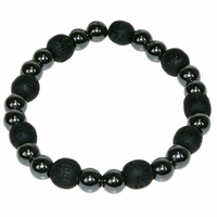 Bracelet perles de karma en Hématite / Bois Noir