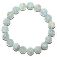 Bracelet en Aigue marine boules 10mm