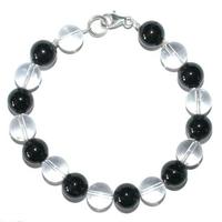 """Bracelet """"Protection"""" Tourmaline noire et Cristal de roche boules 10mm en argent 925°°"""