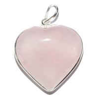 Pendentif Quartz rose en forme de coeur serti d'argent