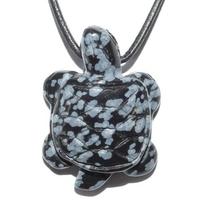 Collier Obsidienne neige tortue