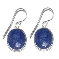 Boucles d'oreilles design en lapis lazuli en argent 925°°