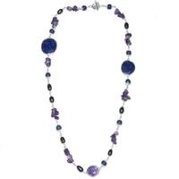 Collier design en améthyste, lapis lazuli et perle en argent 925°°