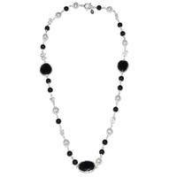 Collier design en spinelle noire, onyx et perle en argent 925°°