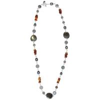 Collier design en labradorite, ambre et perle en argent 925°°