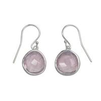 Boucles d'oreilles design en quartz rose en argent 925°°