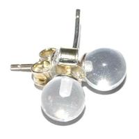 Boucles d'oreilles boule 6mm Cristal de roche en argent