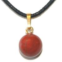 Pendentif jaspe rouge boule 10mm plaqué or