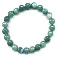 Bracelet en Agate verte boules 8mm