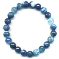 Bracelet en Agate bleue boules 8mm