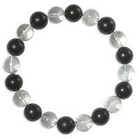 Bracelet Shungite et Cristal de roche boules 10 mm EXTRA
