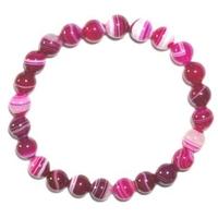 Bracelet en Agate rose fluo boules 8mm