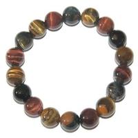 Bracelet Oeil de tigre multicolore boules 10 mm