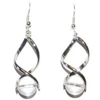 Boucles d'oreilles Cristal de roche en spirale