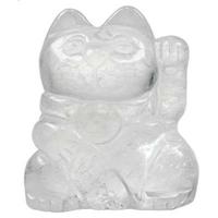 Cristal de roche en chat - Porte bonheur