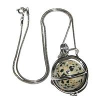 Pendentif Jaspe dalmatien boule  20mm en cage