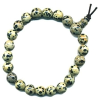 Mala tibétain Power Bracelet jaspe dalmatien boule 8 mm