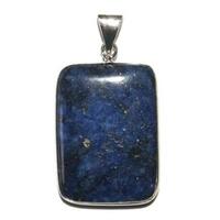 Pendentif Lapis lazuli en pierre plate serti