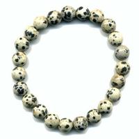 Bracelet en Jaspe dalmatien boules 8mm