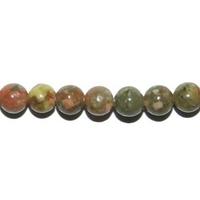 Perle en Unakite boule 4 mm - Lot de 10 pièces