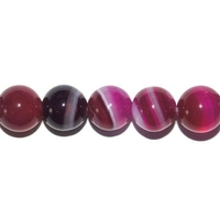 Perle en Agate rose fluo boule 8 mm - Lot de 10pcs