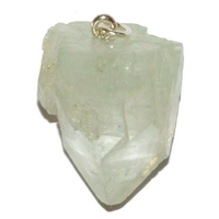 Pendentif apophylite verte cristal brute avec bélière argent