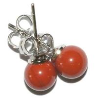 Boucles d'oreilles boule 6mm jaspe rouge