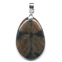Pendentif Andalousite Chiastolite mini pierre plate