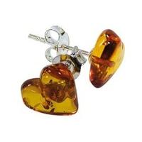 Boucles d'oreilles en forme de coeur en ambre