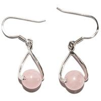 Boucles d'oreilles en argent  Twist Quartz rose