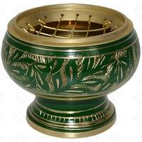 Brûle encens incrustations or et vert