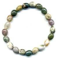 Bracelet pierres roulées en jaspe océan