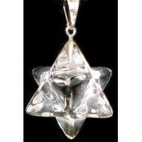 Cristal de roche Merkaba en Pendentif