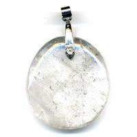 Cristal de roche pierre plate en Pendentif Maxi
