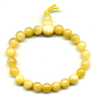 Mala tibétain 21 graines Power Bracelet Calcite jaune boule 8 mm