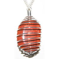 Pendentif pierre plate Jaspe rouge en Spirale