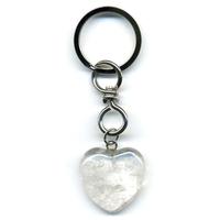 Porte clefs Coeur en cristal de roche naturel