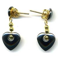 Hématite petit coeur en Boucles d'oreilles