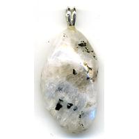 Pendentif pierre de lune à inclusions Extra avec Bélière Argent