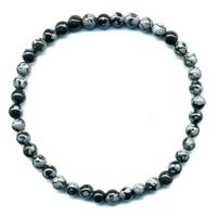 Bracelet en Obsidienne neige boule 4mm